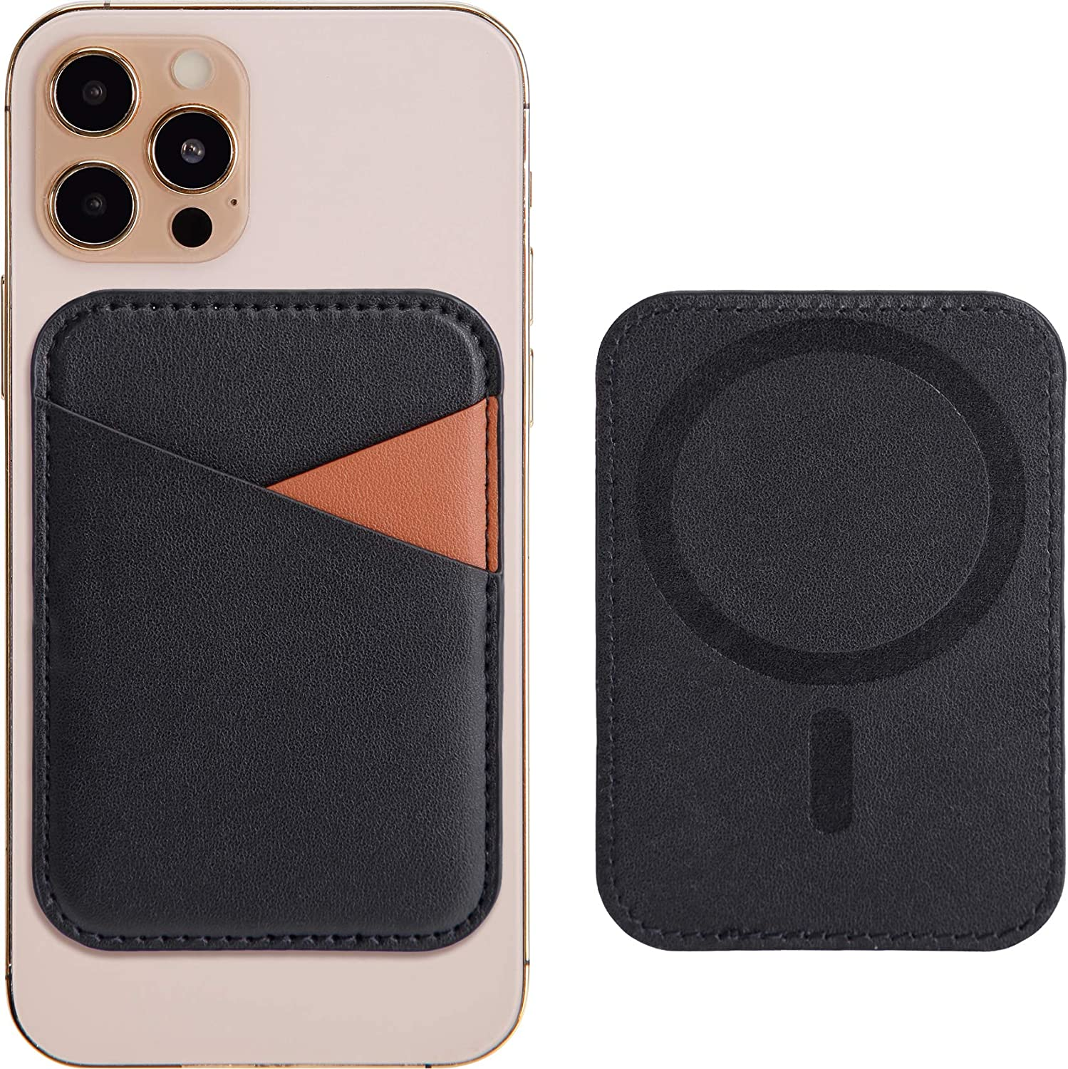 Magnetic Leather Wallet with MagSafe for iPhone 12/12 Mini/12 Pro/12 Pro Max, RFID Card Holder Wallet, Max 3 Cards, Black+Brown