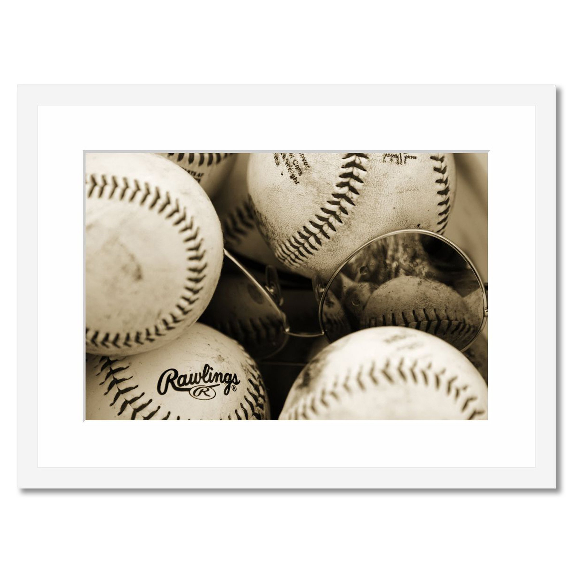 eFrame Fine Art | Baseball & Sunglasses - Sepia Room Decor Gift Man Cave by Robert Evans 16'' X 24'' Framed Wall Art for Wall or Home Decor (Black, Brown, White Frame or No Frame)