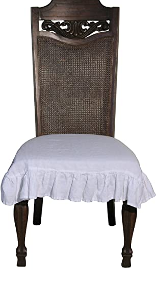 100 Flax Linen Dining Room Chair Seat Cover With Ruffle In White