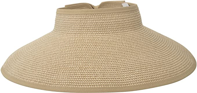 super popular 94eb0 12842 Women Summer Roll Up Packable Wide Brim Sun Visor Straw Hat Beige at Amazon  Women s Clothing store