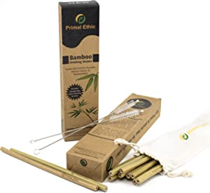 Reusable Bamboo Drinking Straws by Primal Ethic – Plastic Straw Alternative – Organic, Biodegradable – with 2 Cleaning Brushes & Storage Bag – 20 Pack or 12 Pack in 8 or 9.5 Inch