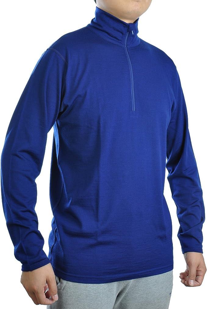 Herren Premium Merino Outdoor Langarm-Shirt Longsleeve mit 1//4 Zip 100/% Wolle