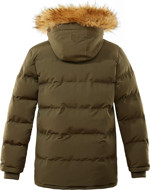 Qiangjinjiu Mens Coats Winter Puffer Fur Hooded Thick Cotton Padded Quilted Warm Down Jacket