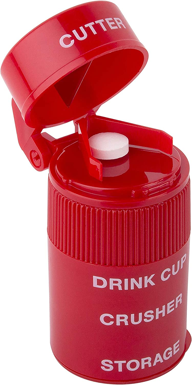 Ezy Dose Pill Crusher and Grinder | Crushes Pills, Vitamins, Tablets | Stainless Steel Blade | Removable Drinking Cup | Red: Health & Personal Care