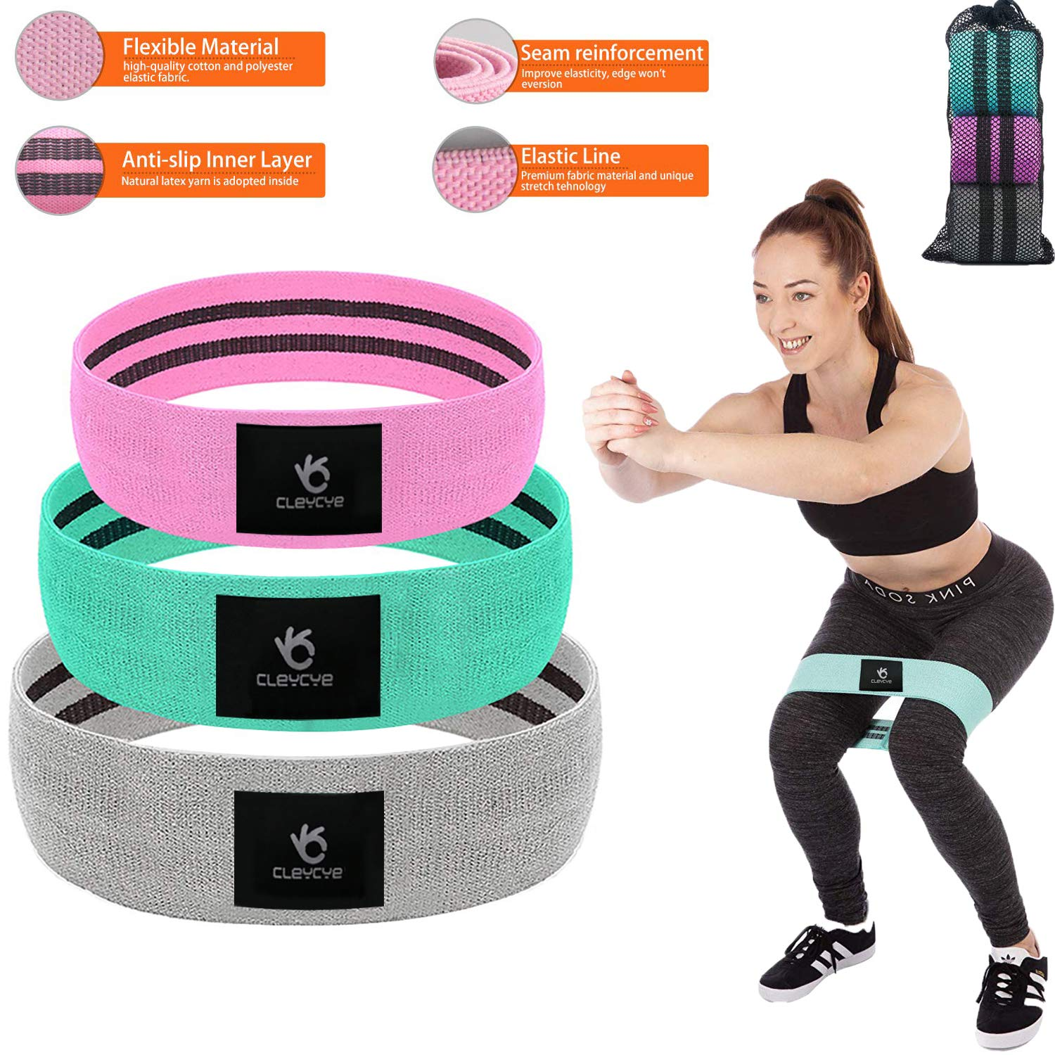 3PCS Resistance Bands for Legs and Butt, Hip Resistance Bands Set for Men Women ,Booty Exercise Bands for Leg Butt Thighs Glute , Thick Resistance Bands Cotton Non-Slip Heavy Wide Resistance Bands