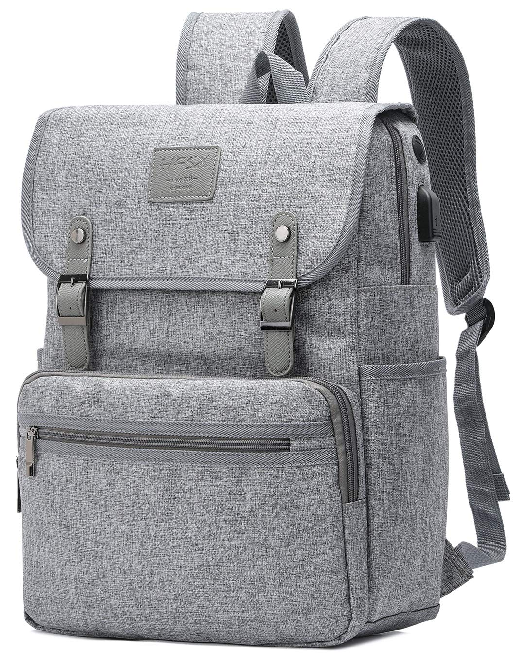 HFSX Backpack Bookbags Laptop Backpack for Women Men Vintage Backpack College Backpack Travel Bookbag Laptop Bookbags with USB Charging Port Gray Backpacks Fits 15 inch Notebook