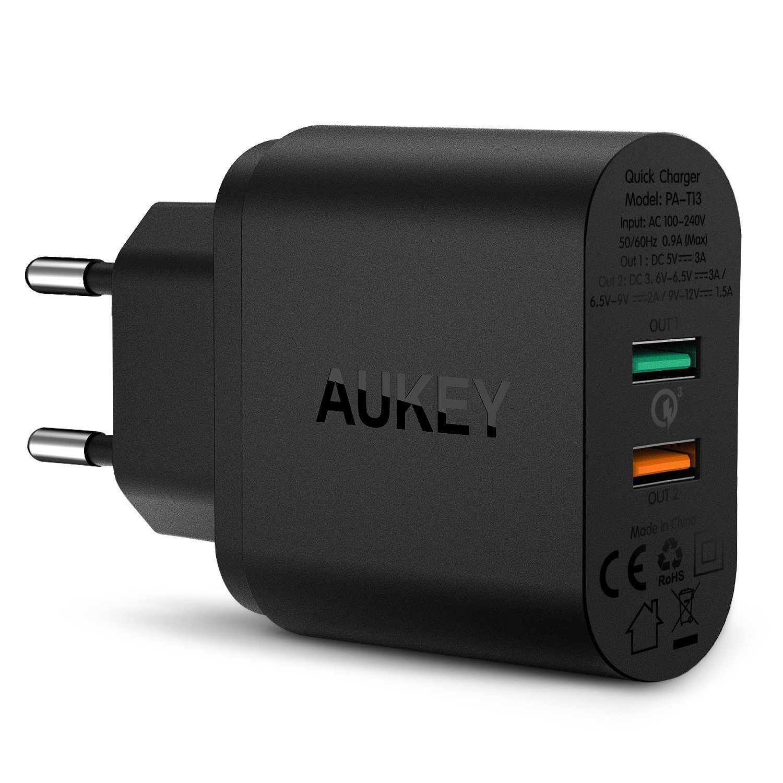 AUKEY Quick Charge 3.0 Cargador de Red con Tecnología AiPower Dual Puertos USB 34,5W para iPhone, LG, Nexus y más (Negro)