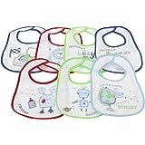 Baberos de bebé con un modelo distinto para cada día de la semana Opciones Niño y Niña (Pack de 7 baberos)