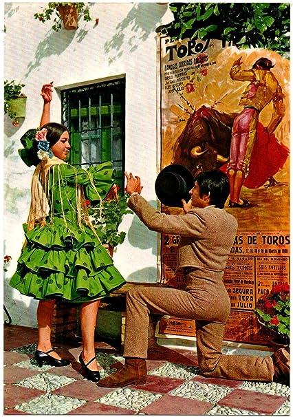 ANTIGUA TARJETA POSTAL POSTCARD ESPAÑA TÍPICA ESTAMPA TÍPICA (CON CARTEL DE TOROS. VER FOTO/S) SAVIR. FLAMENCO BAILAORA BAILAOR. CARTE POSTALE: Amazon.es: Oficina y papelería