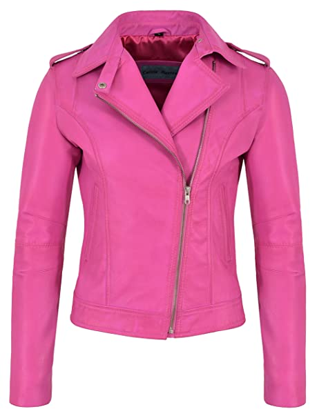 purchase cheap 3c093 a44ee Giacca in Pelle Donna Fucsia Rosa Fashion Biker Rock Style ...