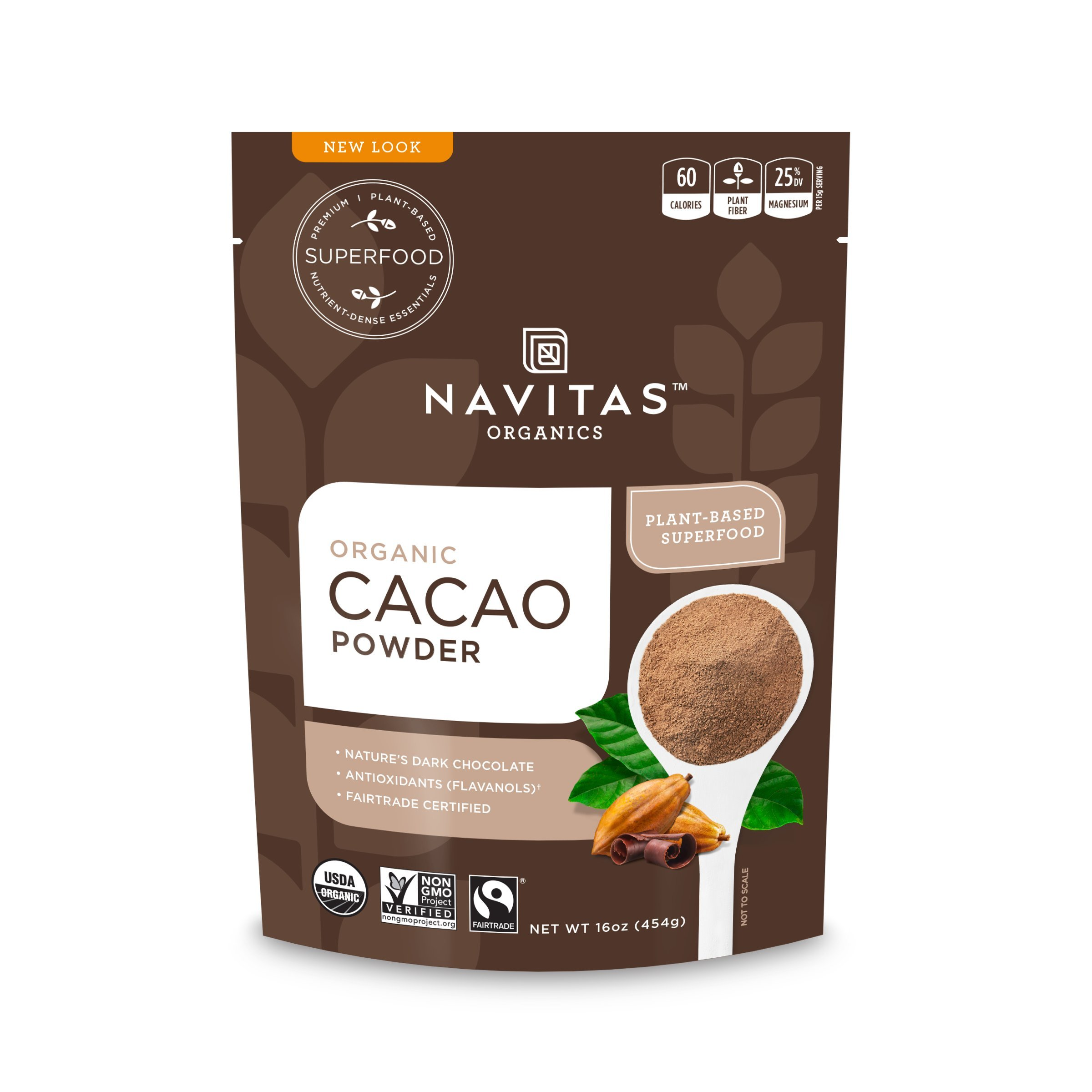 Navitas Organics Cacao Powder, 16 oz. Bags (Pack of 2) — Organic, Non-GMO, Fair Trade, Gluten-Free