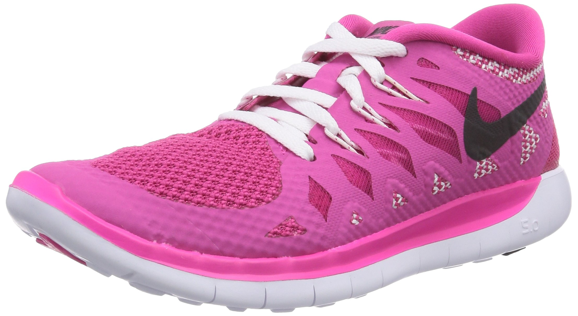 reputable site 8fc88 38476 NIKE Free 5.0 (GS) Girls Running Shoes 644446-602 Hot Pink White-Black 5  Big Kid M
