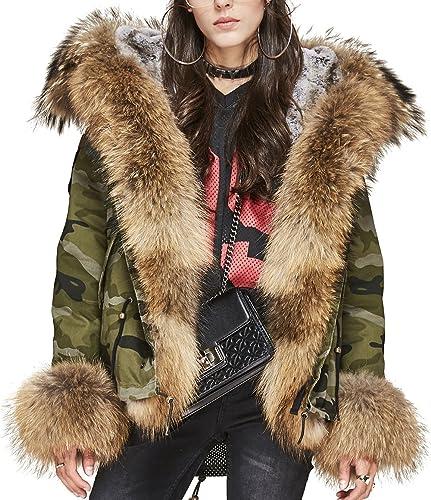 S.ROMZA Chaqueta de piel de mapache para mujer con capucha