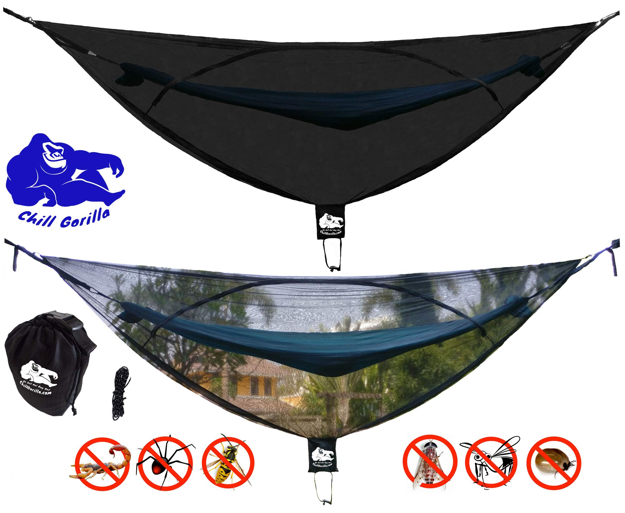 Chill Gorilla OH Hell NO! 11' Bug NET Stops Mosquitoes, No See Ums & Repels Insects. Fits All Camping Hammocks. Compact, Lightweight. Size 132'' x 51''. Essential Backpacking Jungle Gear. Eno Accessory by Chill Gorilla