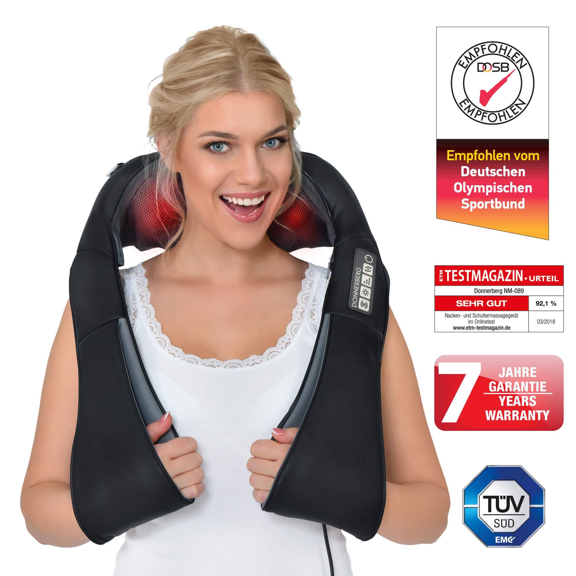 Donnerberg® DAS ORIGINAL Nackenmassagegerät mit Wärme | Schulter Massagegerät für Nacken Schulter Rücken | Muskel Schmerzen | 3D-Rotation Massage | TÜV | 7 Jahre Garantie | Haus Büro Auto product image