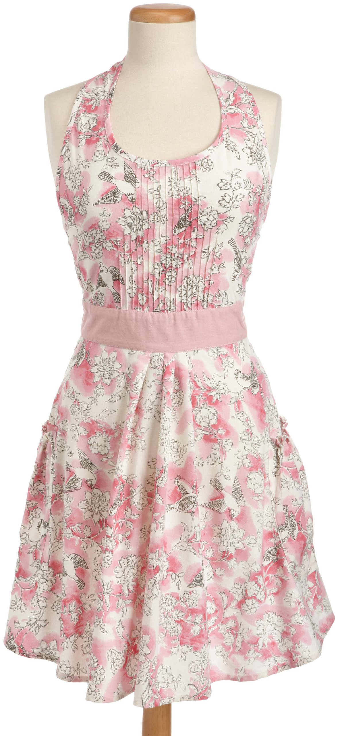 DII 100% Cotton Vintage Blushing Birds Print Full Kitchen Apron with Bib Pin-Tucking, 2 Side Pockets, & Adjustable Waist Ties, Cute Chef Apron Is Machine Washable With Front Pockets, Perfect for Cooking, Baking, Hosting & More