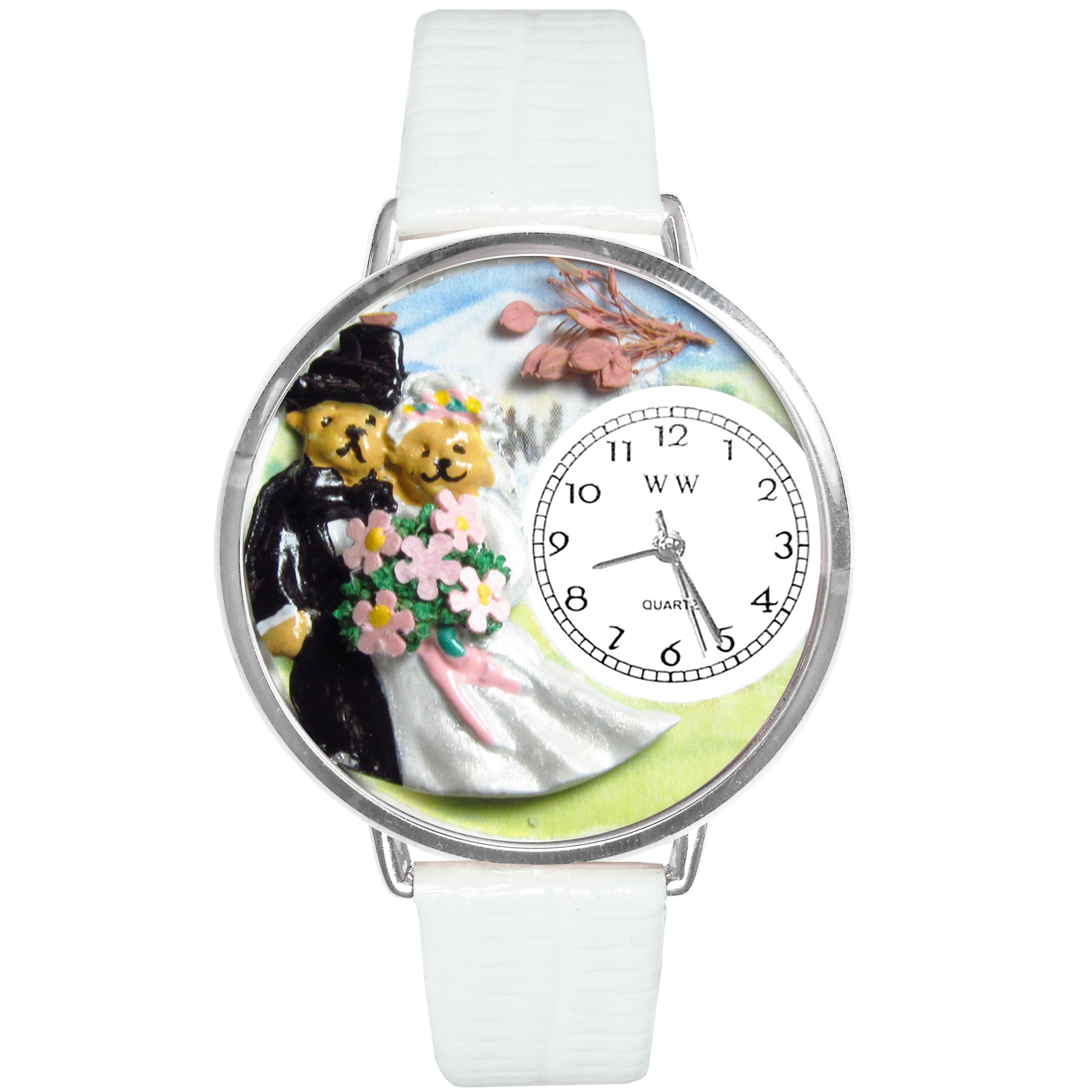 Teddy Bear Wedding White Leather And Silvertone Watch #WG-U1340002