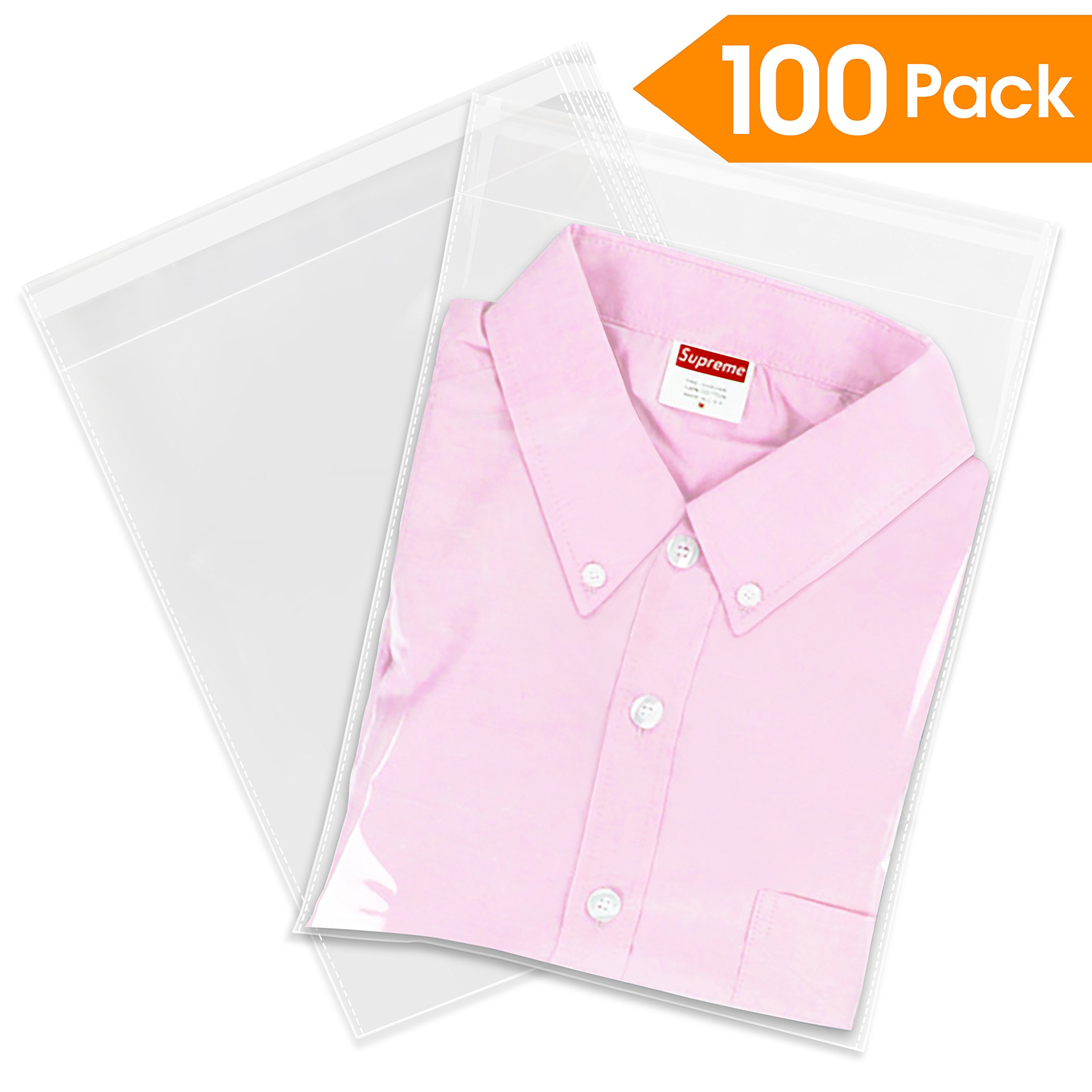 """100 Count - 12"""" X 15"""" Self Seal Clear Cello Cellophane Resealable Plastic Poly Bags - Perfect for Packaging Clothing, Shirts (More Sizes Available)"""