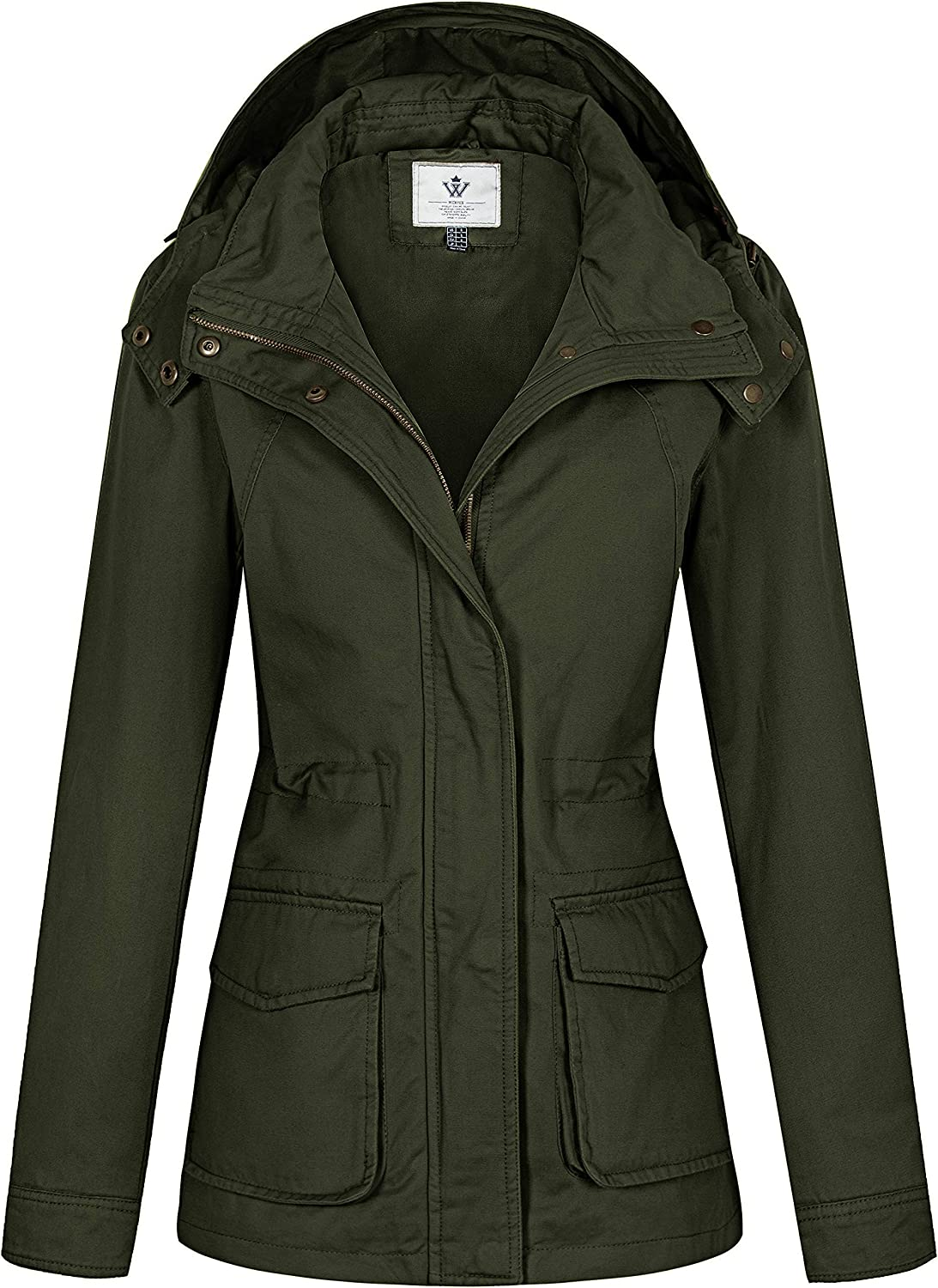 WenVen Women's Utility Military Anorak Jacket Hooded Lightweight Cotton Casual Coat