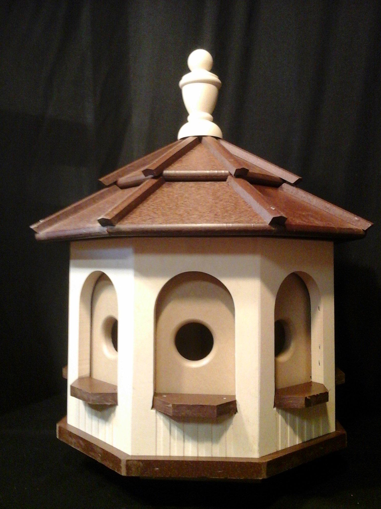 Amish Handcrafted Poly Octagon Gazebo Birdhouse Homemade Handmade Ivory & Brown