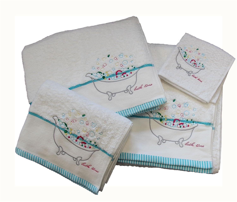 Homescapes Toalla de Manos de algodón Egipcio con Bordado Bath Time: Amazon.es: Hogar