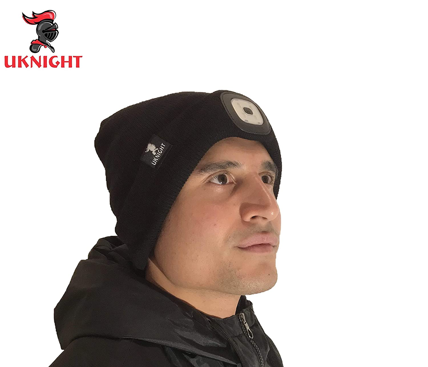 Uknight Premium Quality Black Beanie Hat with a Powerful LED Removeable and USB Rechargeable Light With 3 Brightness Levels.