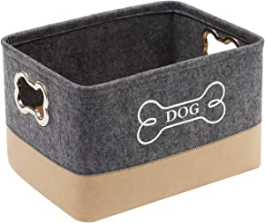 Morezi Felt Puppy Baskets, Dog Toy Box Large with Designed Metal Handle, pet Organizer - Perfect for organizing pet Toys, Blankets, leashes, Dry Food and Bone - Gray+Beige