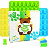 BIGGER Gummy Bear Mold Silicone 3 PACK - 3 DROPPERS + RECIPE PDF ~ LARGE LFGB FDA Gummy Bears molds non BPA Candy Molds - BIG 1 Inch Gummie Bears Ice Cube Chocolate Gelatin Trays Set