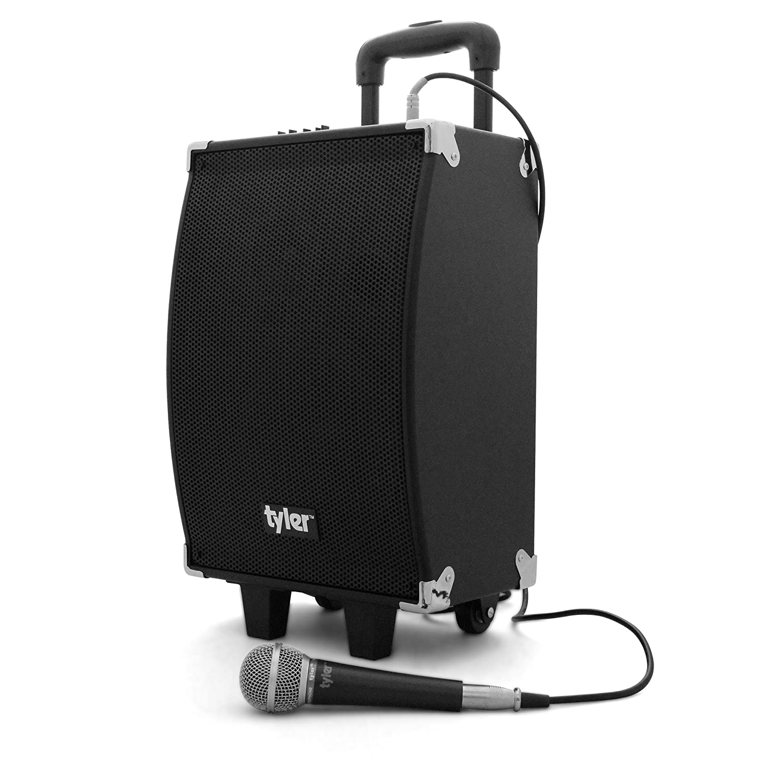 portable bluetooth speakers on wheels. amazon.com: tyler tailgate portable wireless bluetooth speaker pa system tws404-bk with microphone input, built-in amplifier + equalizer, guitar jack speakers on wheels .