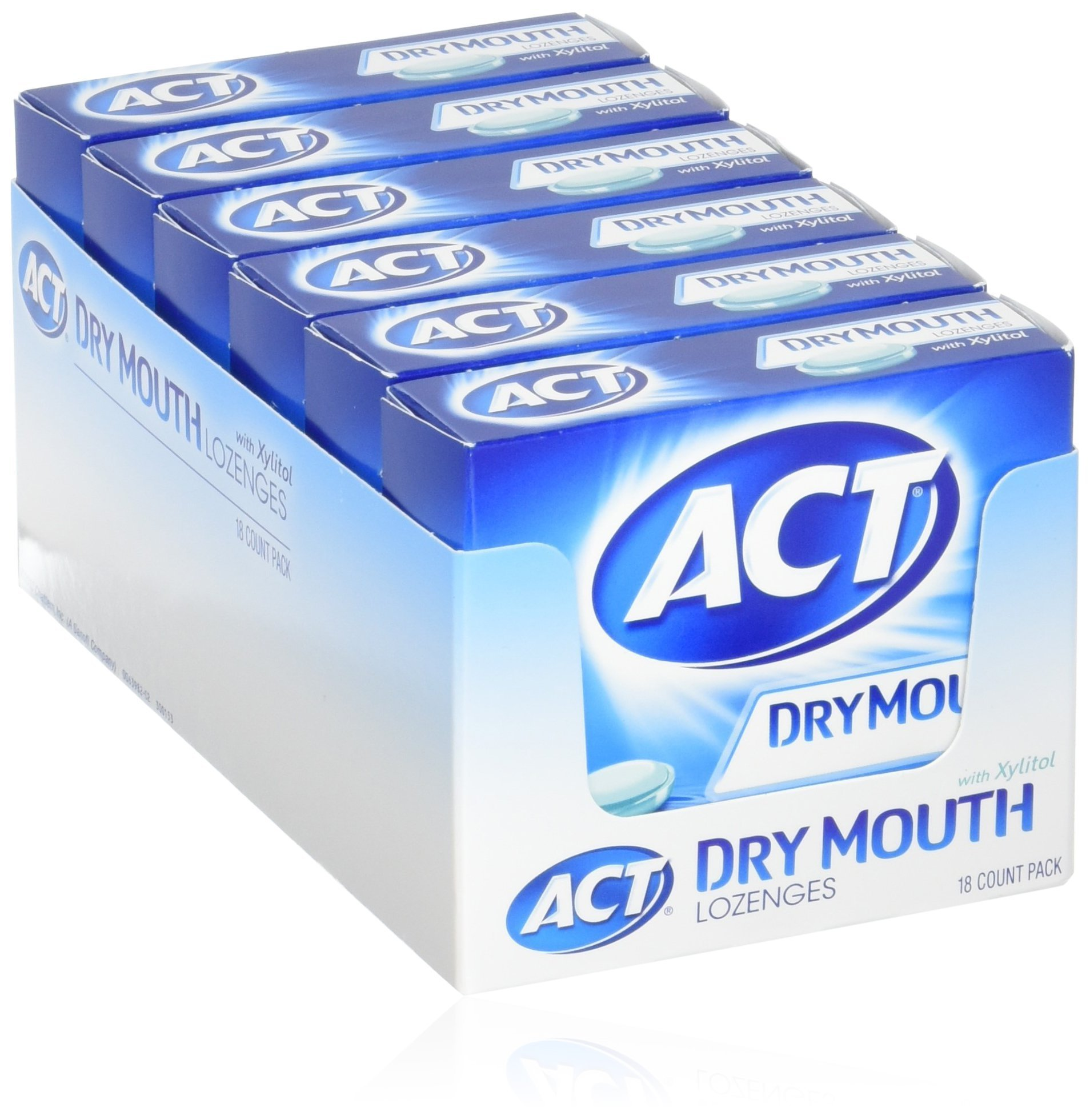 ACT Total Care, Dry Mouth Lozenges, 18 Count (Pack of 6), Soothing Mint Flavored Lozenges with Xylitol Help Moisturize Mouth Tissue to Sooth and Relieve Discomfort from Dry Mouth, Freshens Breath by ACT (Image #1)