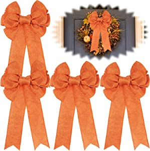 Syhood Fall Wreath Gift Bow Orange Wreath Fabric Bow Thanksgiving Large Gift Basket Decoration for Autumn Gift Wrapping (4 Pieces, 8 x 16 Inch)