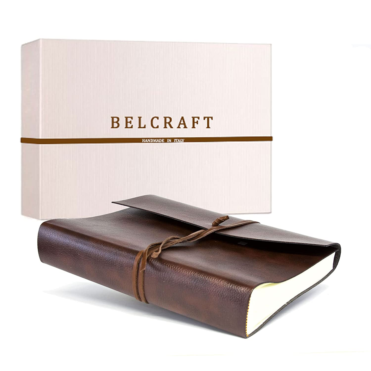 Belcraft Tivoli Photo Album made from Recycled Leather, Handmade in Classical Italian Style, Gift Box Included, A4 23 x 30 cm, Brown