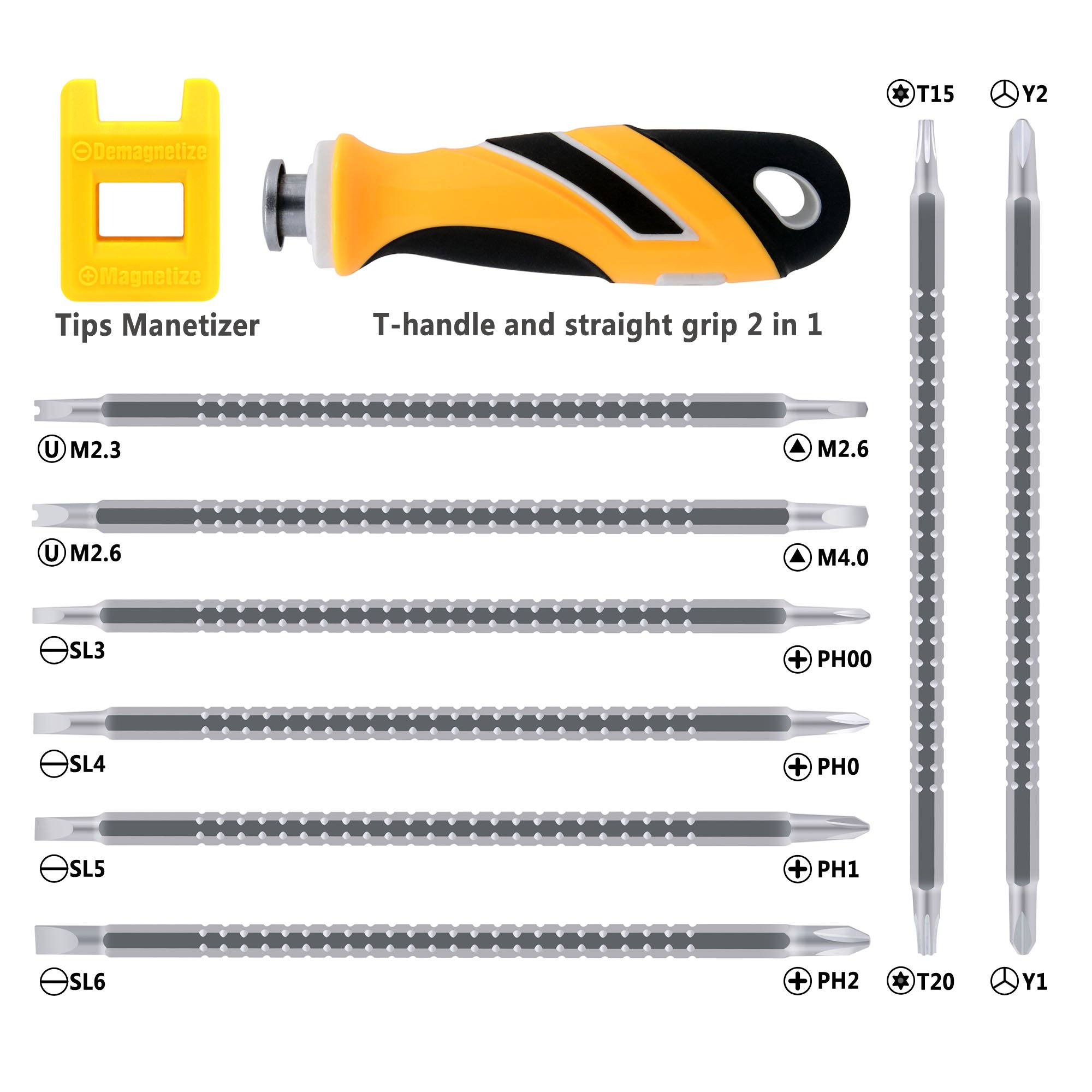 Koopi 16 in 1 Multi Bits Screwdriver Set Ergonomic TPR Grip With Long Phillips Slotted Torx Tri-wing U-type Triangle Head Bits For Appliance Maintenance