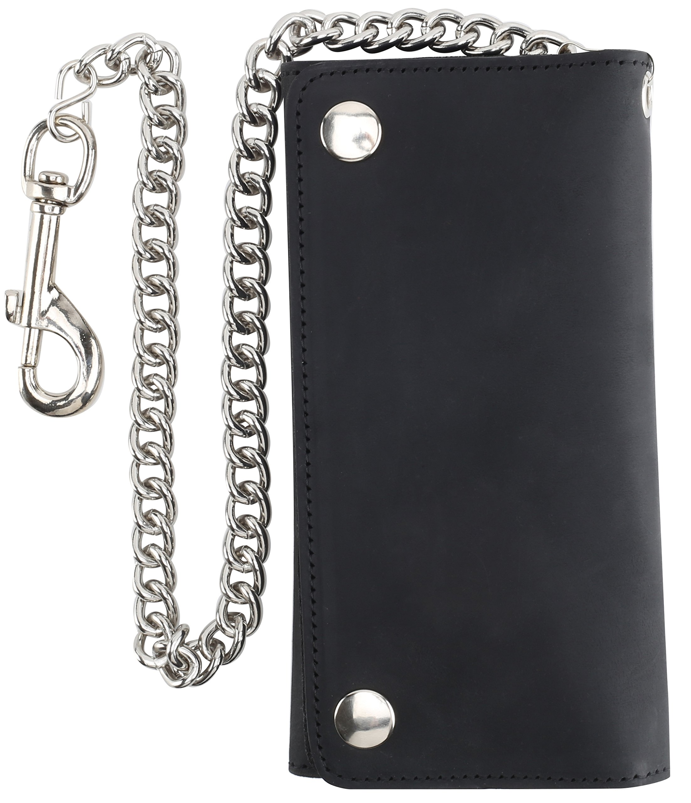 RFID Blocking Men's Tri-fold Vintage Long Style Cow Top Grain Leather Steel Chain Wallet,Made In USA,Snap closure,bw339,solid black