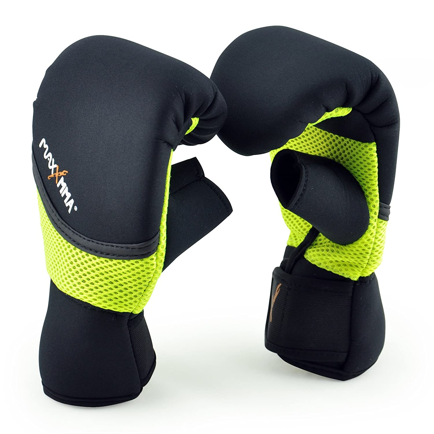 MaxxMMA Neoprene Washable Heavy Bag Gloves - Boxing Punching Training (Neon Yellow, L/XL) LYSB00S05CQRC-SPRTSEQIP