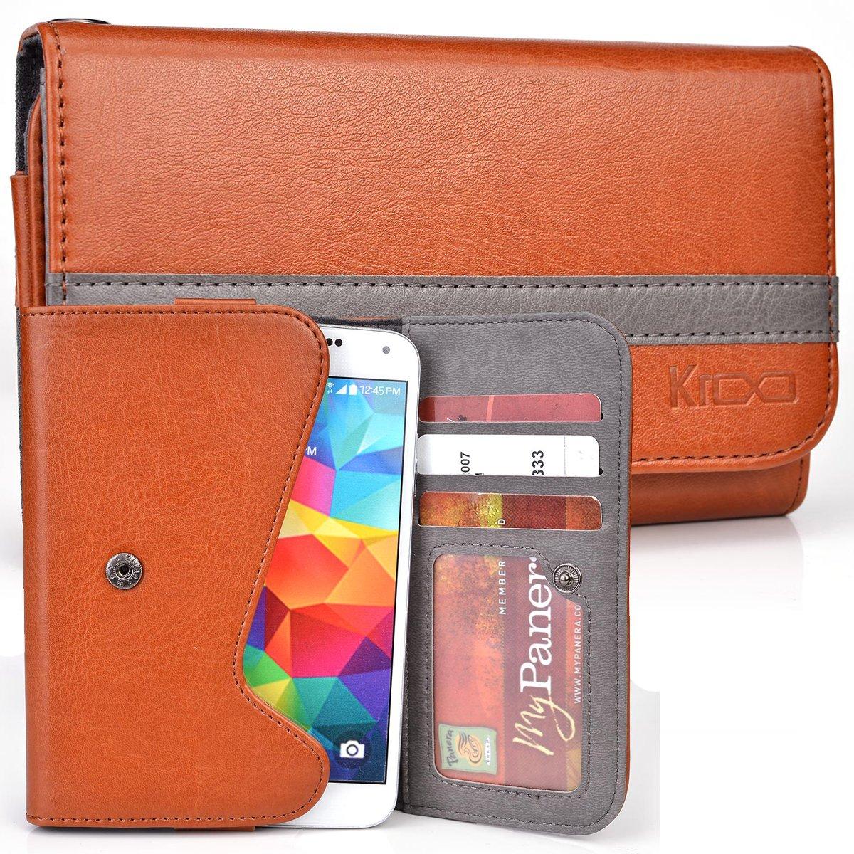 Sharp Aquos Mini Shl24 Phone Xx 303sh Case Cadmium Orange Two Tone Bifold Wallet With Belt Loop Cell Phones Accessories