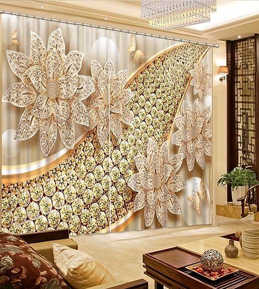 Chlwx 3d Tapete Luxuriose Vorhange Schone Blume 3d Vorhange Vorhange