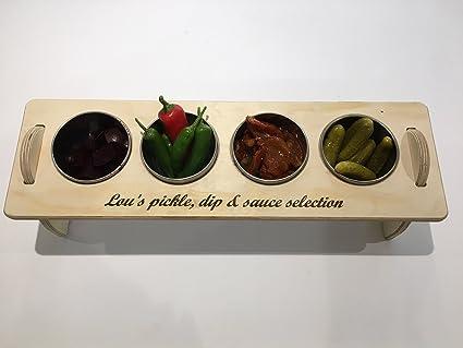 Personalizada bandeja de condimentos Salsa de encurtidos. Viene completo con 4 cuencos de acero inoxidable