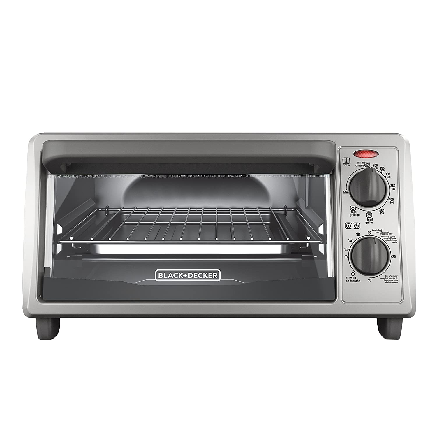 BLACK+DECKER 4-Slice Countertop Toaster Oven, Stainless steel Silver TO1322SBD