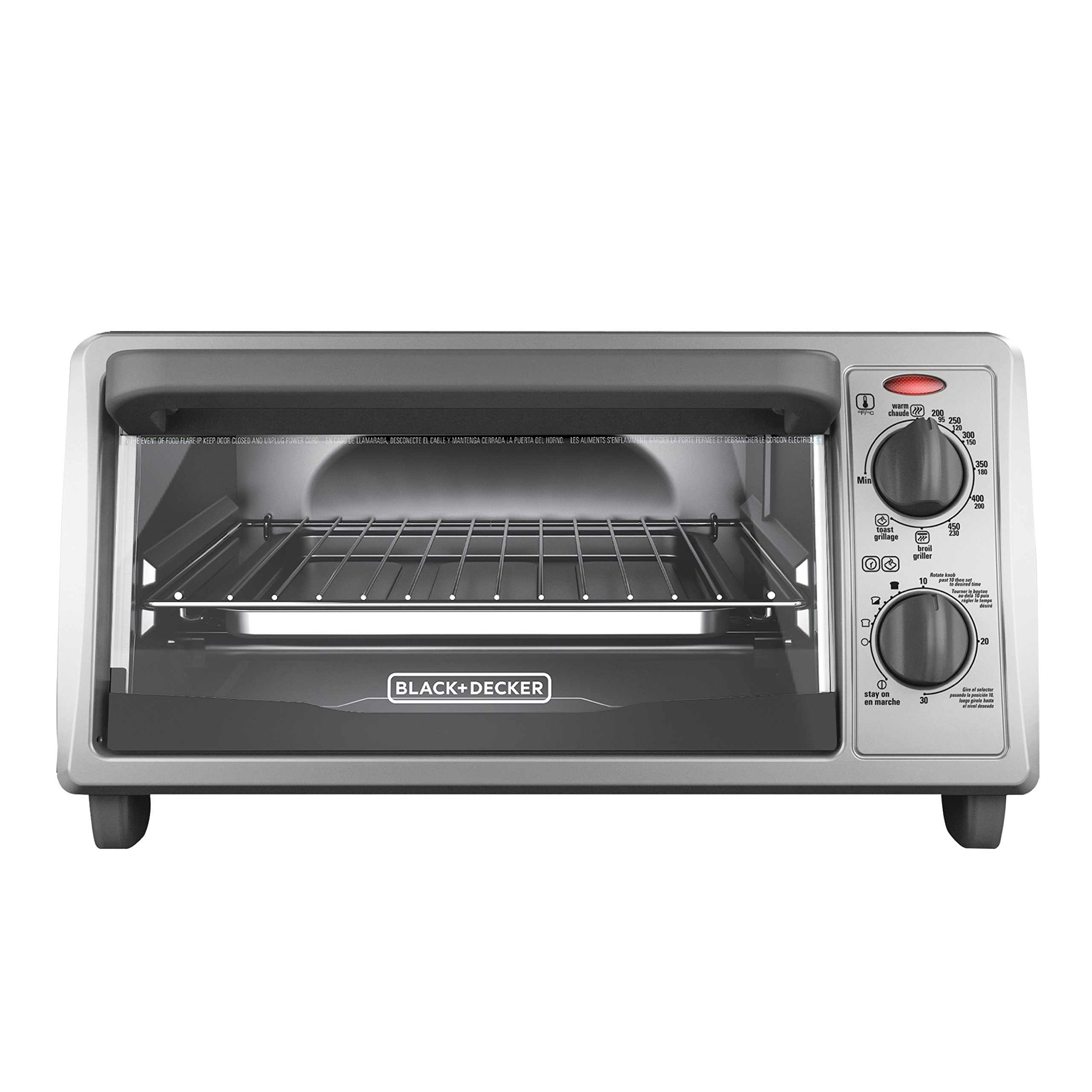 BLACK+DECKER 4-Slice Countertop Toaster Oven, Stainless steel Silver TO1322SBD by BLACK+DECKER (Image #1)