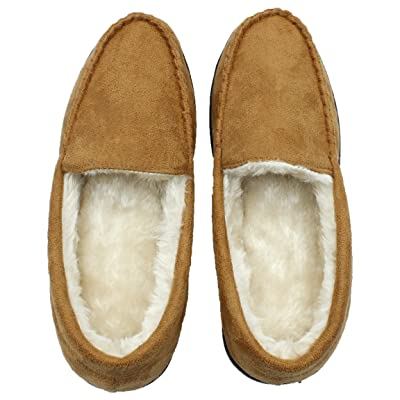 Men's Soft Plush Fleece House Slippers Suede Leather Anti-Skid Sole Shoes Indoor Outdoor (M, Brown) | Slippers