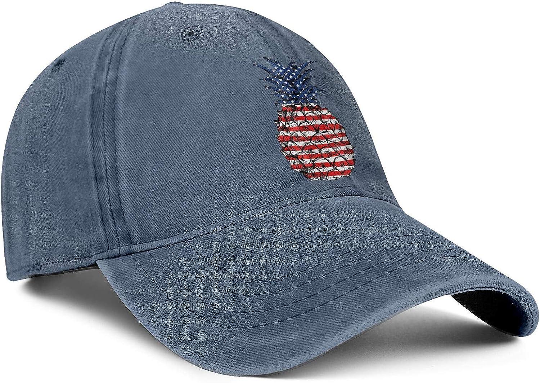 Patriotic Pineapple America Flag Unisex Baseball Cap Fitted Sun Caps Adjustable Trucker Caps Dad-Hat