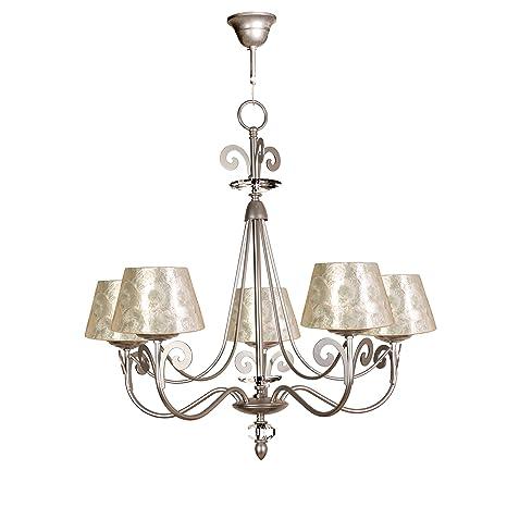 Lámpara de techo de 5 luces acabado plata con pantalla con ...