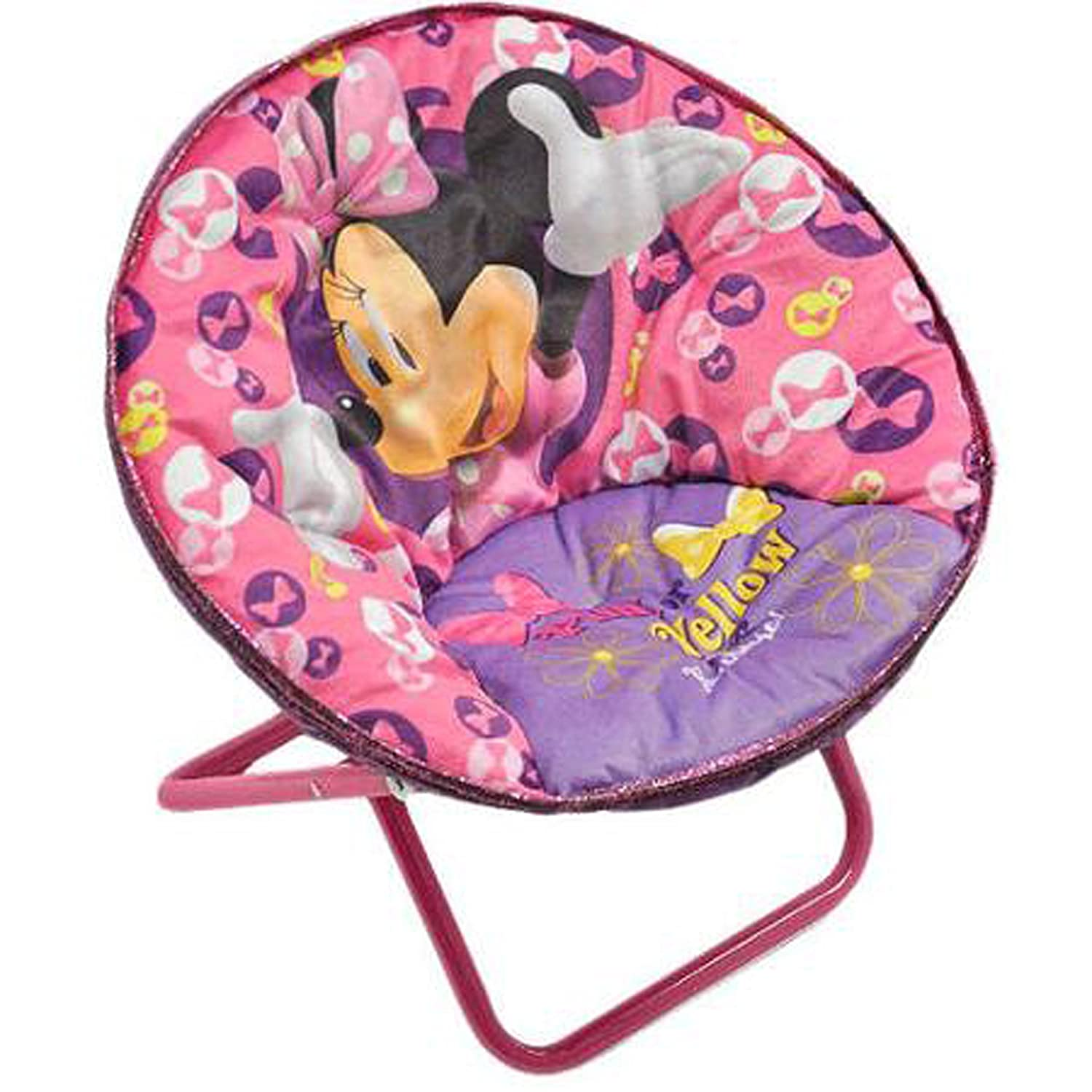 Minnie Mouse Disney Saucer Chair Pink Toddler Kids Seat Portable Character Comfortable Seating Saucer Shape Sturdy Metal Frame Polyester Cushioned Seat Playroom Easy Storage Bedroom Kitchen Dining Cjp Org In