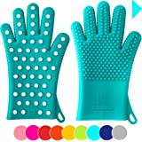 Finally! Heavy-Duty Women's Silicone Oven Mitts by Love This Kitchen | 2 Sizes Available in 9 Colors | Heat Resistant Gloves For Her Cooking, Baking & Barbecue Needs (1 Pair, Size: XS/S, Color: Teal)