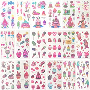 Oexper 18 Sheets of Dessert Temporary Tattoos Cartoon Rainbow Ice Cream Lollies Cookie Cake Heart Tattoo Stickers for Girls Boys Kids Adults – Great for Birthday Party Sweet Summer Party Supplies