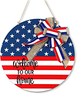 Joyly 4th of July Welcome Door Sign,Independence Day Decorations Doorplate Round Wood Hanger American Flag Patriotic for Front Door Porch Wall Window Decor (1)