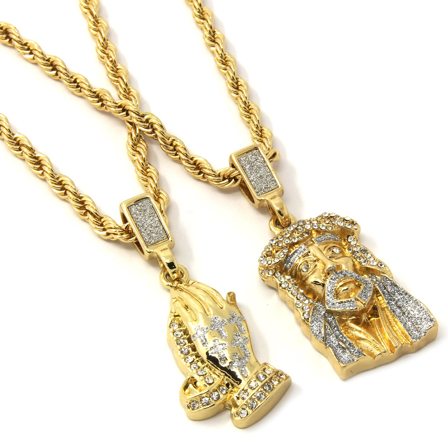 Mens Gold Two Piece Jesus & Prayer Hand Set Pendant Hip Hop 24'' Rope Chain D421