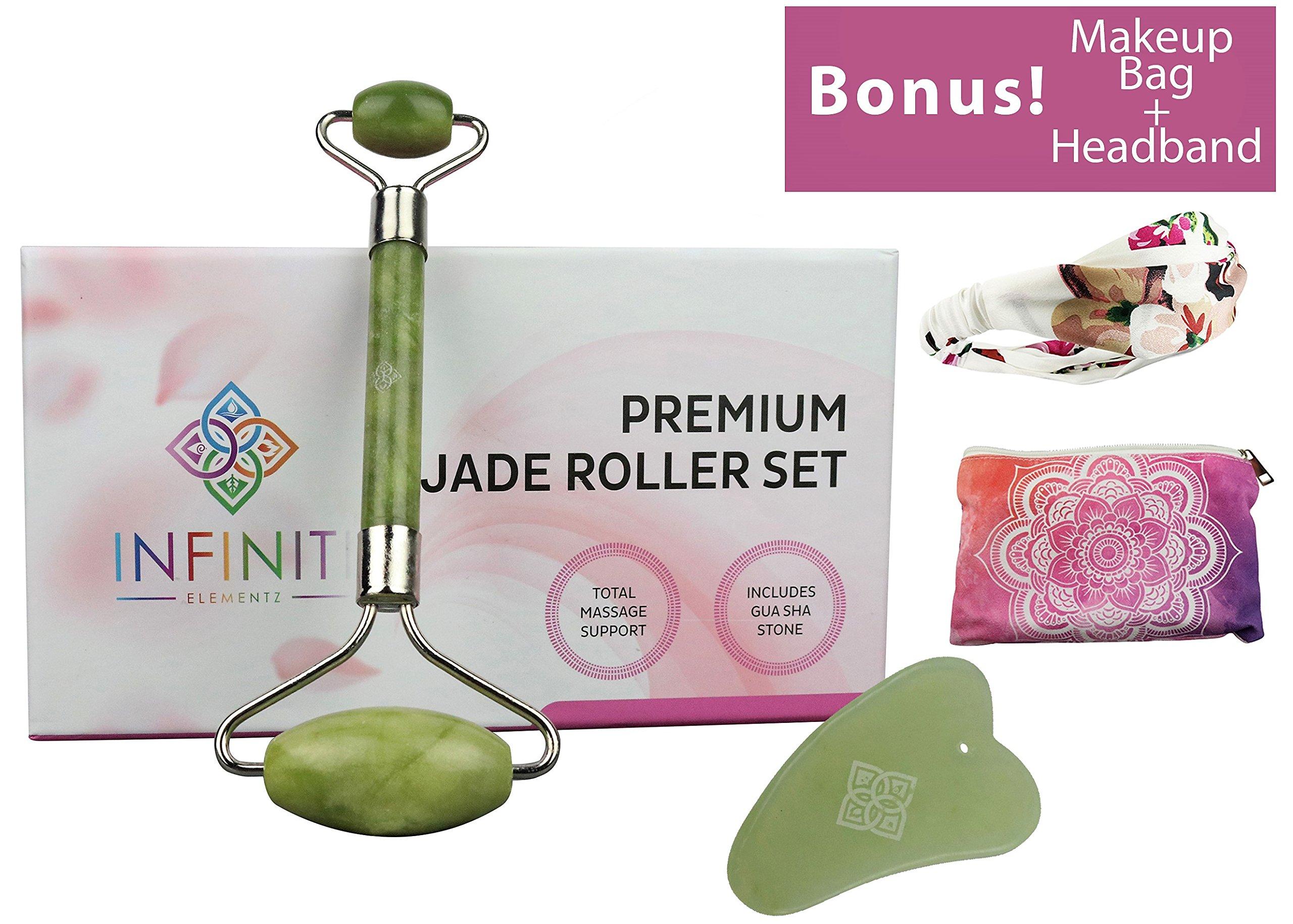 Premium Jade Massage Roller | Bonus!!! Gua Sha Stone, Makeup Bag & Headband | Natural, Spa-Quality Skincare and Derma Rolling | Stimulate Circulation, Chi, Collagen, Muscle Relief By infiniti elementz