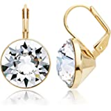 MYJS Bella Statement Earrings Clear Swarovski Crystal Gold Plated